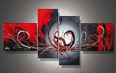 Framed Abstract Art Painting, Black and Red Wall Art, Living Room Wall – Grace Painting Crafts Living Room Canvas Painting, Hand Painting Art, Living Room Paint, Online Painting, Painting Canvas, Paintings Online, Canvas Artwork, Bedroom Canvas, Painting Classes