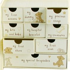 Baby Keepsake Box with Drawers by wdd. $28.39. This beautiful Baby Keepsake Box opens up to reveal drawers! All labelled to keep everything organised, these keepsake boxes can accommodate baby's first mittens, dummy, hospital bracelet, first shoes, first scan and lots of other keepsakes and trinkets. Ideal memory boxes for Christening gifts and 1st Birthday presents, imagine opening this up 20 years on to find out what is inside!Some people use old shoe boxes, others a plastic ...