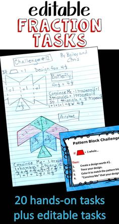 I love these! My kids love these! Even my principal loves these! If you need to motivate your students during your fraction unit, this.is.it! These hands-on math center activities use the relationships between Pattern Blocks to build and challenge fraction knowledge. 20 tasks given plus editable tasks so you can continue the fun and learning! 3.NF.A.1, 4.NF.A.1, 4.NF.A.2, 4.NF.B.3, 5.NF.A.1