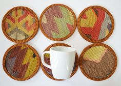 Handwoven, Handmade, hand paint, cup coaster, coasters , tea accessories,  table decoration, set coasters