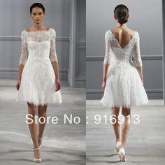 short wedding dresses 3/4 sleeves | neck 3 4 sleeves monique lhuillier spring 2014 short wedding dresses ...