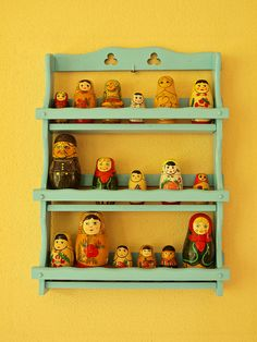 Display a matryoshka doll collection on a spice rack... now I just need more matroyoshka dolls...