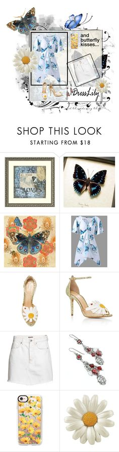 """""""Butterfly Kisses"""" by cinpet ❤ liked on Polyvore featuring Amanti Art, Marmont Hill, Charlotte Olympia, H&M and Casetify"""
