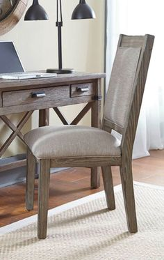 This upholstered side chair makes a great addition to your home office.