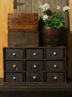 add pulls like this to my small chest. Primitive Country Homes, Primitive Antiques, Primitive Decor, Prim Decor, Country Decor, Farmhouse Decor, Apothecary Cabinet, Wall Boxes, Primitive Furniture
