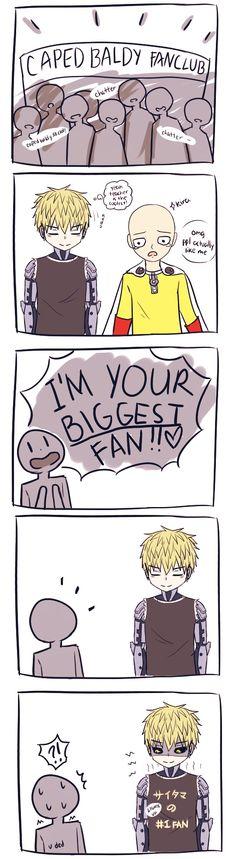 One Punch Man - Caped Baldy fanclub - Oh Genos. One Punch Man 3, One Punch Man Funny, Saitama One Punch Man, One Punch Man Anime, Senpai Notice Me, Genos X Saitama, Caped Baldy, Memes, Manga Games