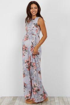 Light Blue Floral Sleeveless Pocket Maternity Maxi