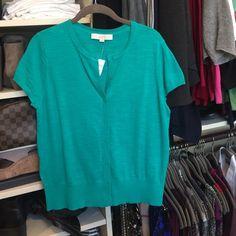 Short sleeved cardigan Kelly green, short sleeved cardigan sweater from LOFT. NWT!! LOFT Sweaters Cardigans