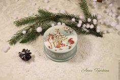 """Купить """"Лесная сказка"""" шкатулочка - мятный, шкатулочка, новогодний подарок, рождественский подарок, Новый Год"""