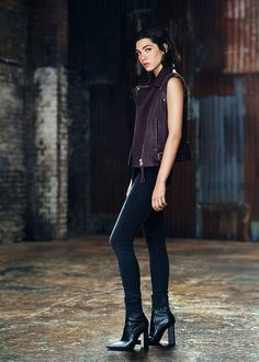 From the AllSaints lookbook. Love the deep plum leather vest with black denim and black leather boots. Will be lusting after this one for a while
