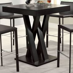 Square Bar Table Height Kitchen Dining Furniture Small Spaces Modern Wildon Home