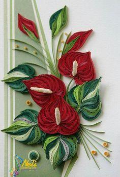 Neli Quilling Art: anthurium bouquet More: Neli Quilling, Quilling Jewelry, Paper Quilling Flowers, Paper Quilling Cards, Quilling Work, Origami And Quilling, Paper Quilling Patterns, Quilled Paper Art, Quilling Paper Craft