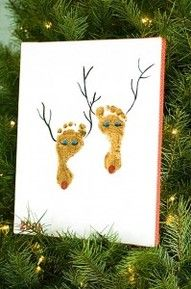Christmas crafts; would be a great card with mom, dad and kids feet - colour copy on cardstock