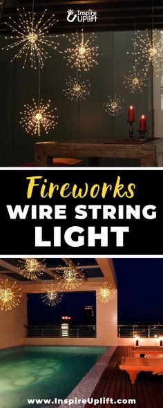 This dazzling Fireworks Wire String Light fixture has a total of 150 top-quality LED lights. Every wire branch has 4 to 5 micro LED lights that shine brighter and more brilliant than any traditional string lights. Outdoor Lighting, Home Lighting, Outdoor Decor, Christmas And New Year, Christmas Diy, Ideas Dormitorios, Candle Lamp, Upcycled Home Decor, Best Candles