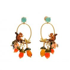 Fruits d'Automne Earrings: Squirrel and acorns  A collection of fruits lit by the autumn afternoon, that convey the softness of a still-life painting.