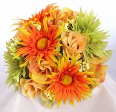 This ilk Bouquet has green and orange daisies and peach roses.