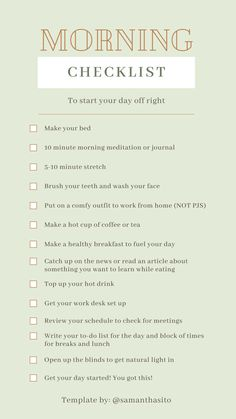 A checklist to start your quarantine morning routine. It's important to have something to look forward to every morning. Morning Routine Checklist, Routine Planner, To Do Checklist, Beauty Routine Checklist, Beauty Routines, Morning Routine School, Healthy Morning Routine, Early Morning Workouts, 5am Club