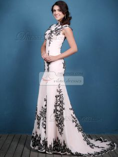Luxurious Mermaid/Trumpet High neck Sweep Appliques Prom Dresses [42SODFCH604] - US $178.89