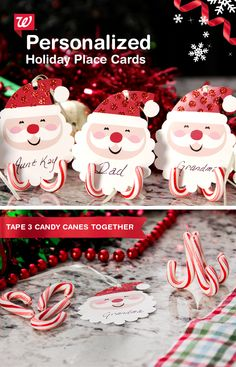 Be merry kate do it yourself christmas place card holders make personalizedand edibleholiday place cards simple tape together mini candy canes solutioingenieria Images