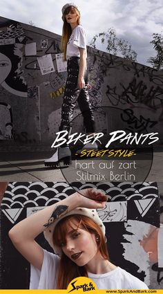 Bikerhose Streetstyle Berlin Fashionblogger, Biker Lederhose mit Schnallen Outfit, Grunge Modeblogger, Look mit derber Lederhose, Nike T-Shirt