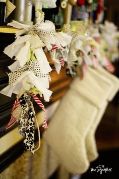 Lighted Fabric strips garland - this gives me an idea . I'd like to do it with white lights and strips of muslin, cream calico, lace, by dana Christmas Fabric, Christmas Love, All Things Christmas, Handmade Christmas, Vintage Christmas, Christmas Holidays, Christmas Decorations, Christmas Ideas, Christmas Garlands