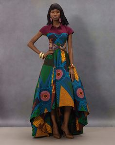 African Print dress with Gold Bangles