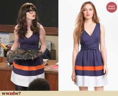 Zooey Deschanel's Navy v-neck colorblock dress on New Girl. Outfit Details: http://wwzdw.com/z/4504