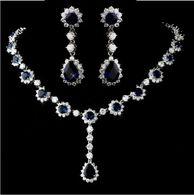 Gorgeous Sapphire Blue CZ Bridal Jewelry Set