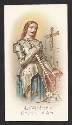 Antique St Joan of Arc Holy Card  Beautiful Old by Divinegiftshop, $14.00