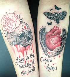 Bleeding Skull w/ Rose(Love Is The Beauty Of The Soul) Real Heart w/ Black Wings Back of Thighs