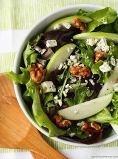 Mixed Green Salad with Blue Cheese Crumbles, Apples and Candied Walnuts
