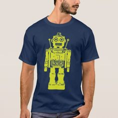 Retro Robot T-Shirt - tap, personalize, buy right now! Robot Theme, Retro Robot, Robot Design, Tshirt Colors, Fitness Models, Navy Blue, Casual, Sleeves, Mens Tops