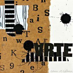 1 Año de Collage Feliz ::: NÚMEROS Y LETRAS Collage. Mix Media. Art Journal. Rosa Verdosa