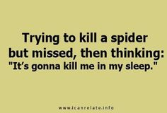 I legitimately cannot sleep in a room where I have been  unsuccessful in killing a spider (or more likely having someone else kill it). It's pathetic really.
