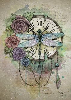 'Time Flies' Poster by marineloup-art - Kunst aus Metall Dragonfly Tattoo Design, Dragonfly Art, Tattoo Designs, Dragonfly Drawing, Dragonfly Images, Dragonfly Painting, Tattoo Ideas, Éphémères Vintage, Decoupage Vintage