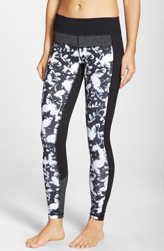 Favorite Zella leggings were updated with the addition of on-trend color blocking and abstract floral print. Love them!