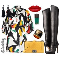 A fashion look from February 2016 featuring sleeve dress, thigh-high boots and leather jewelry. Browse and shop related looks. Cute Fashion, Look Fashion, Autumn Fashion, Girl Fashion, Fashion Outfits, Womens Fashion, Fashion Trends, Swag Outfits, Stylish Outfits