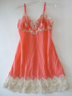 vintage slip lingerie 36D Hollywood Vassarette Designer Line coral ecru lace