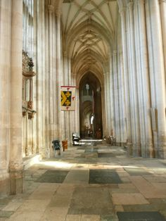 The North Aisle in Winchester Cathedral where Jane Austen is buried.