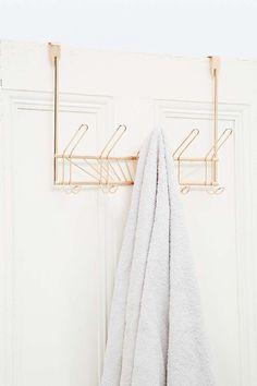 Over the Door 5-Hook Rose Gold Towel Rack