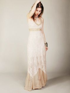 free hand crochet wedding gown | Free People crochet dress for brides or bridesmaids