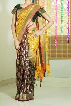 Red & Yellow, Half And Half Banarasi Silk Saree