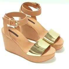 Zara buckled ankle wedges New with tag,  Size 37 Zara Shoes
