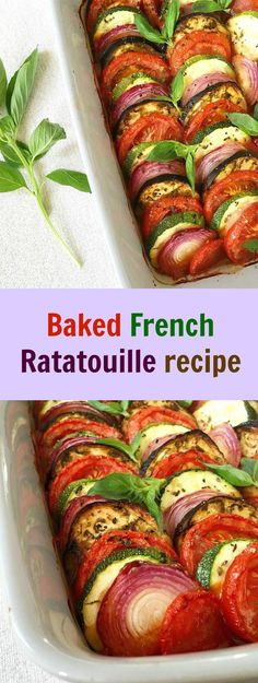 Baked French Ratatouille recipe can be enjoyed as a meal of its own or as a side dish to a lovely roast. The stars of the dish are aubergines (eggplant), courgette (zuchinni), onions and tomatoes. A lovely sauce and some great herbs, and that's it, you have a healthy dinner in no time.