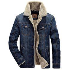 New Men's Denim Jacket with Fur Lining