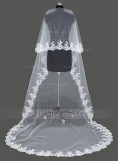 Véus de casamento - $19.99 - Uma camada Catedral véus de noivas com Borda com aplicação de renda (006053196) http://jjshouse.com/pt/Uma-Camada-Catedral-Veus-De-Noivas-Com-Borda-Com-Aplicacao-De-Renda-006053196-g53196
