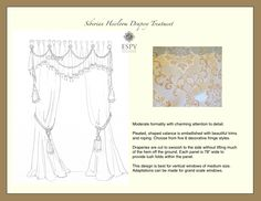 Siberian Heirloom Drapery Treatment. This design is sketched and priced online by Tanna  Espy Miller, Design Nashville's award winning designer. Message DesignNashville for custom quotes and other fabric options.