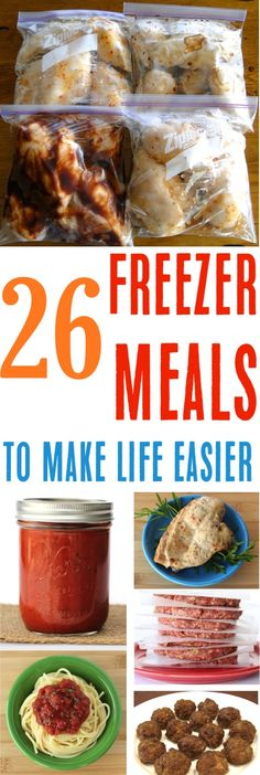 These Easy Make Ahead Dinners are the BEST way to simplify busy weeknights, and the perfect thing to take new moms! Add some to your menu this week! by polly Freezable Meals, Slow Cooker Freezer Meals, Make Ahead Freezer Meals, Dump Meals, Freezer Cooking, No Cook Meals, Easy Meals, Cooking Recipes, Freezer Recipes
