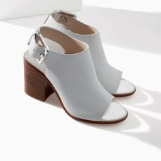 Image 2 of LEATHER BLOCK HEEL ANKLE BOOT STYLE SANDAL from Zara