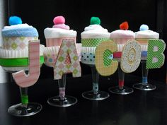Champagne Diaper Cake Cupcakes with your baby's name by NothingButHandmade, via Flickr